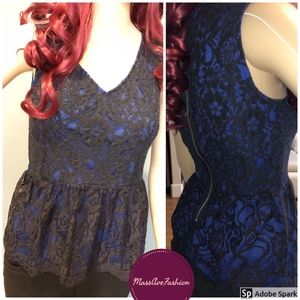 Francesca's Blue Rain Lace Peplum Top
